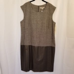 Sharagano Noir Dress Midi Sleeveless Brown New